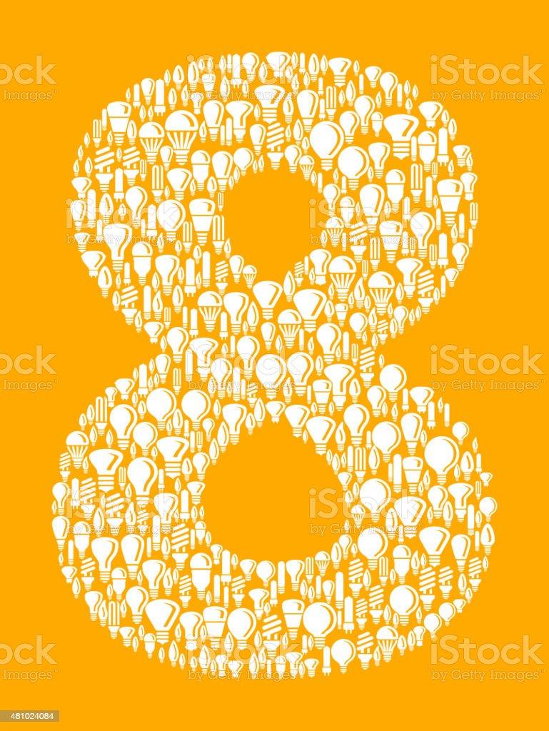 Number Eight on Vector Lightbulb Pattern Background vector art illustration