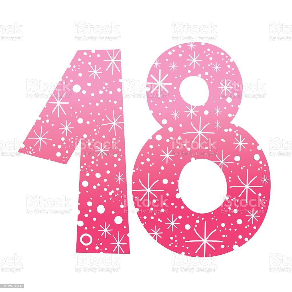 number eighteen vector art illustration