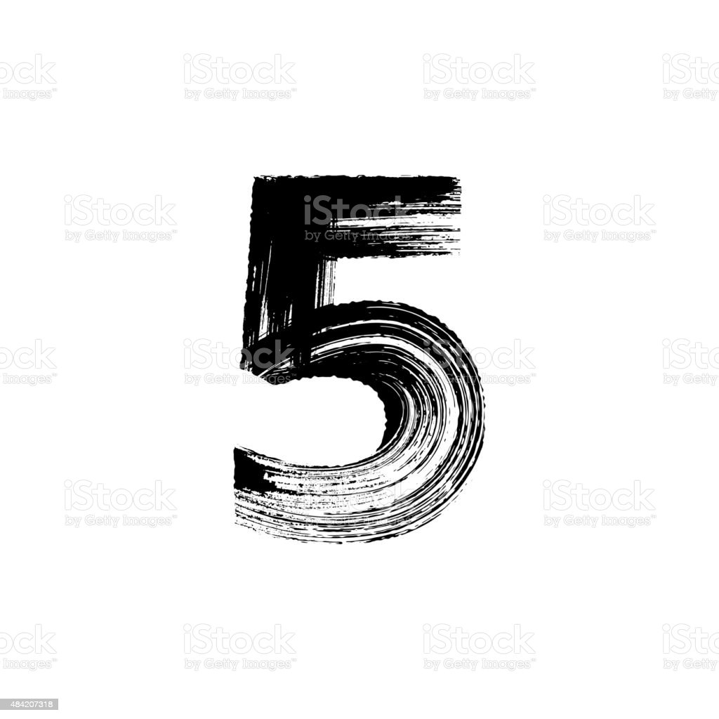 Number Five 5 hand drawn with dry brush vector art illustration