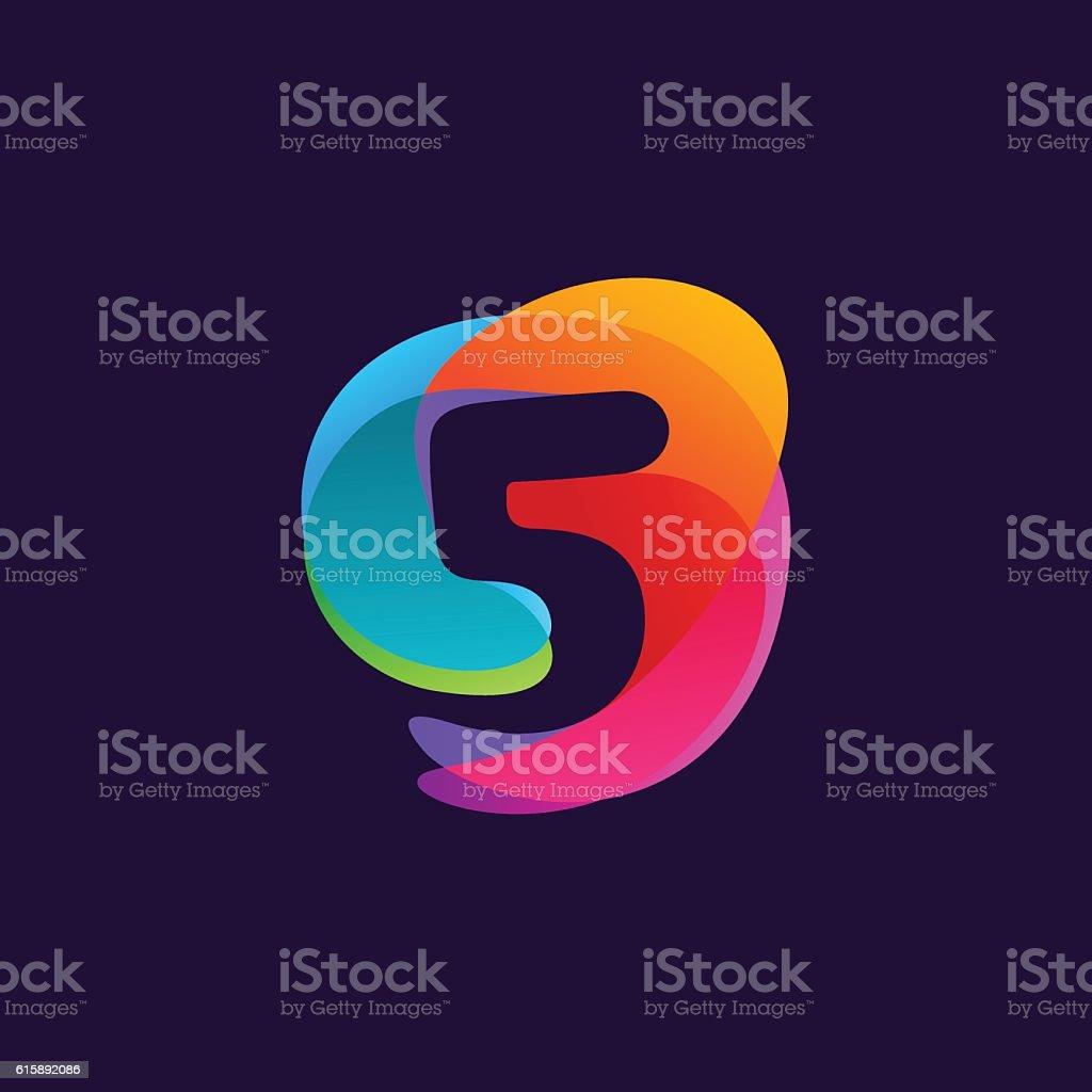 Number five icon at colorful multicolor splash background. vector art illustration