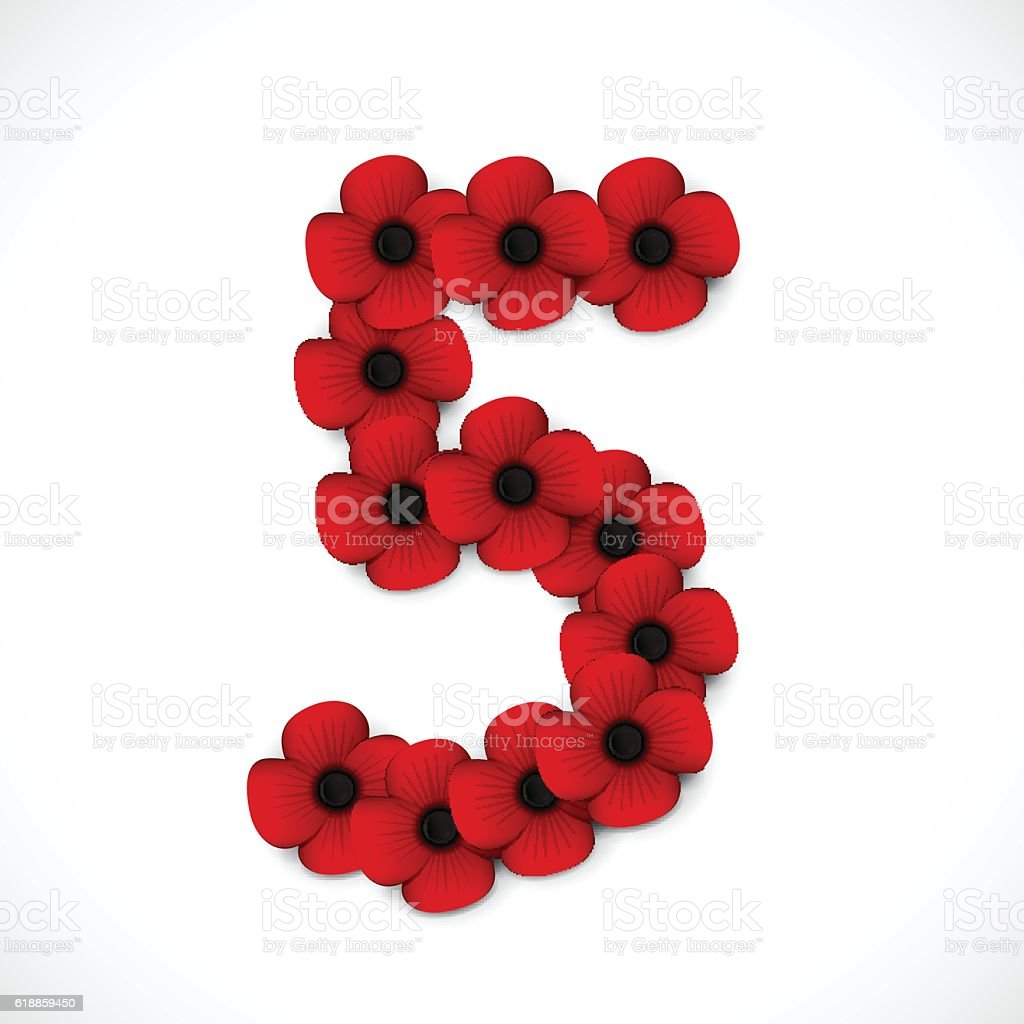 number five poppy background vector art illustration