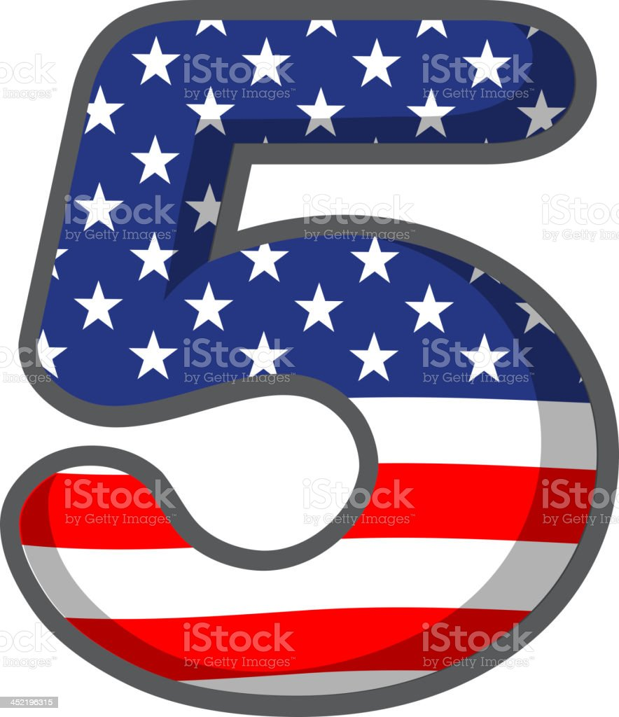 number five with USA symbols royalty-free stock vector art
