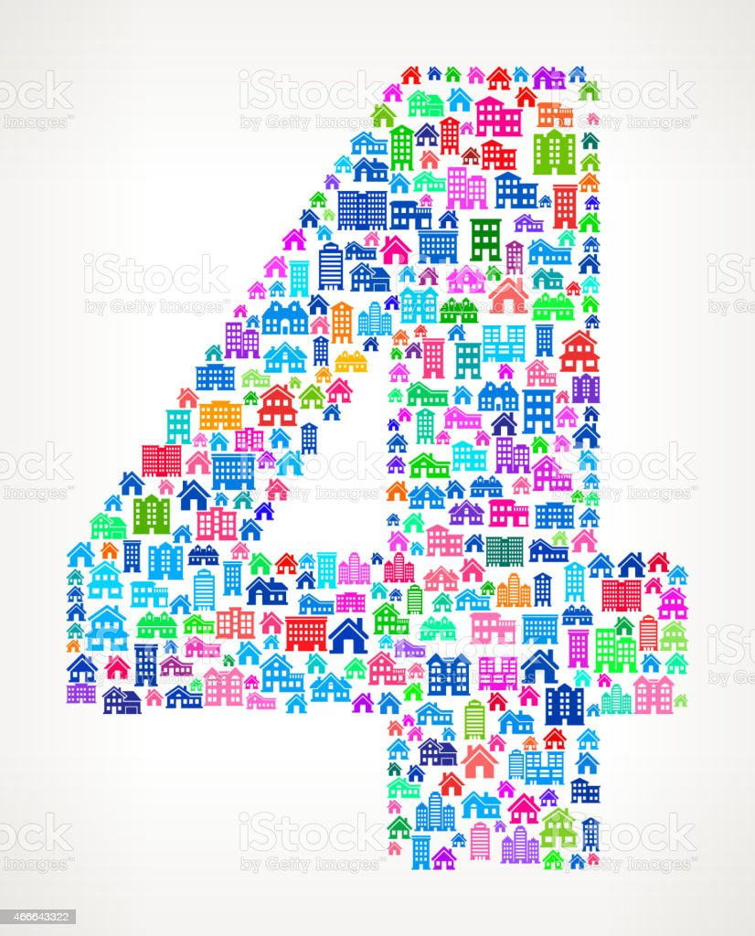 Number Four Real Estate interface icon Pattern vector art illustration