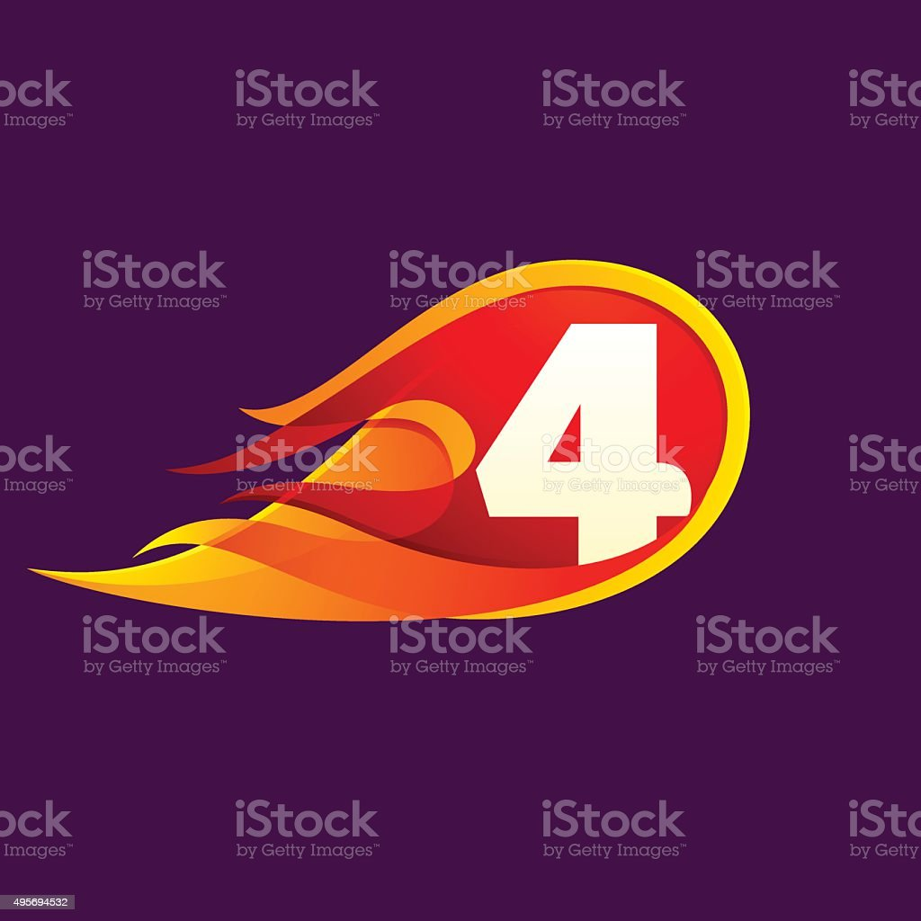 Number four with red fire flames. vector art illustration