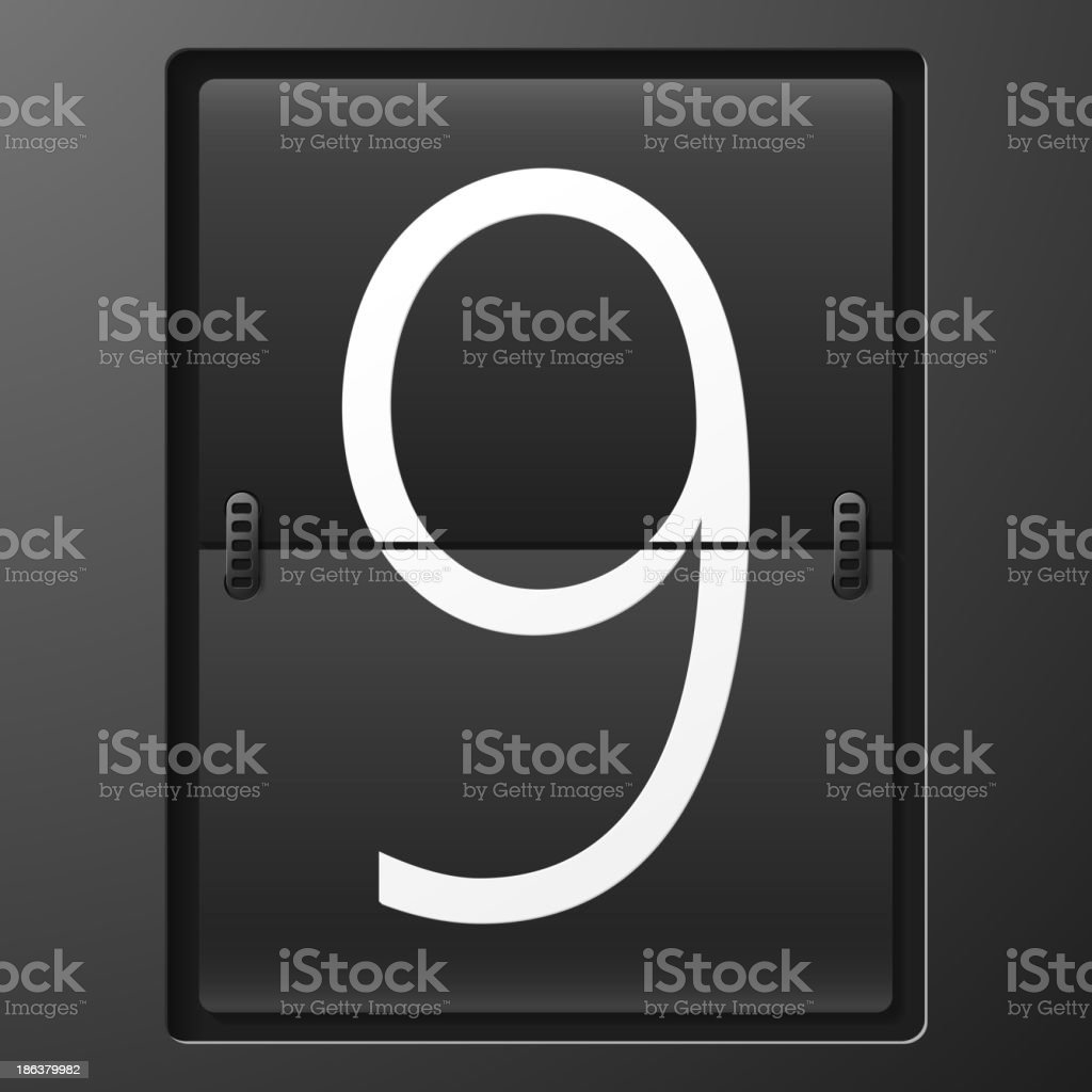 Number from mechanical scoreboard alphabet royalty-free stock vector art