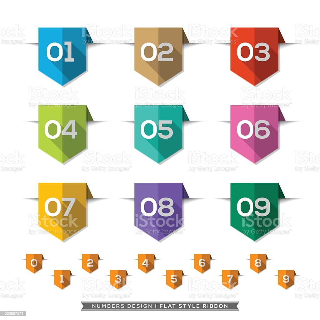 Number in Bookmark Label long shadow Flat Icons Set vector art illustration