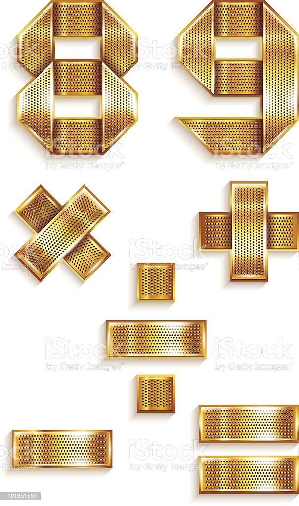 Количество металла золотой лентой - 8, 9 векторная иллюстрация