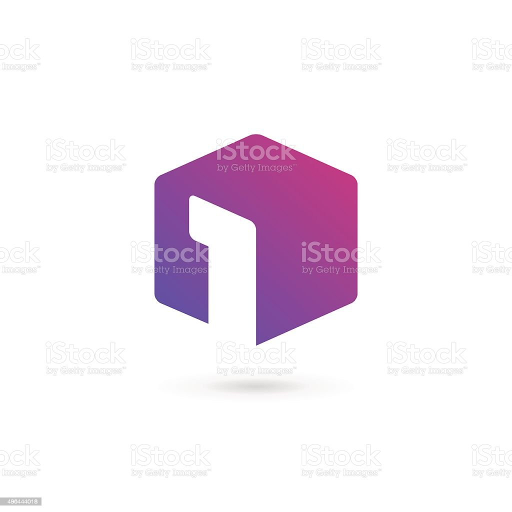 Number one 1 cube icon design template elements vector art illustration