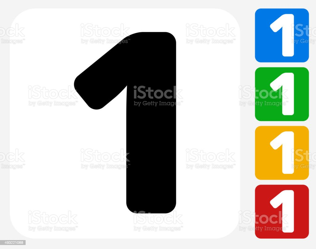 Number One Icon Flat Graphic Design vector art illustration
