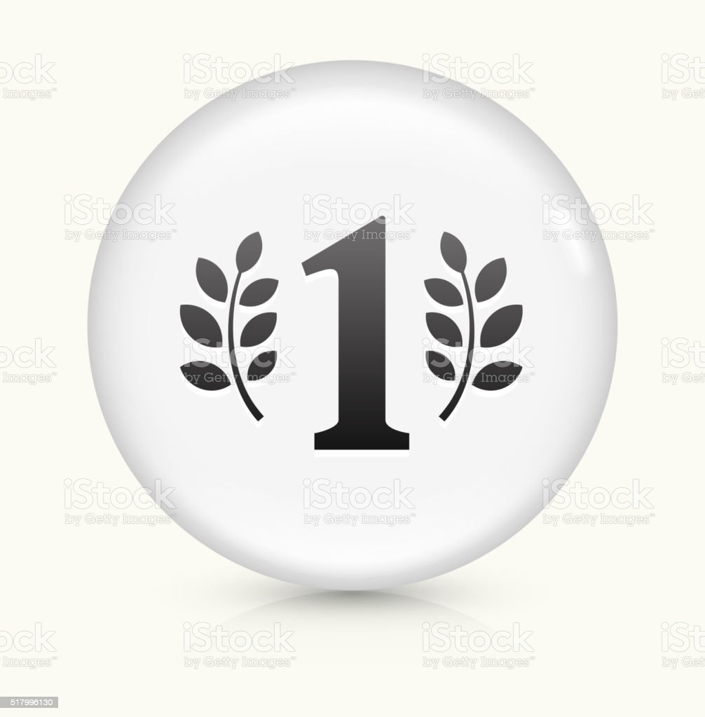 Number One icon on white round vector button vector art illustration