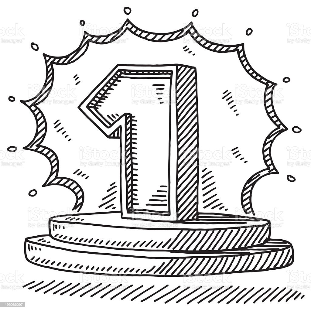Number One Stage Drawing vector art illustration