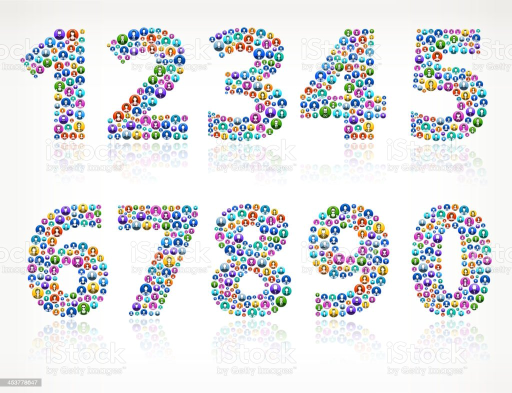 Number Order on People Buttons vector art illustration