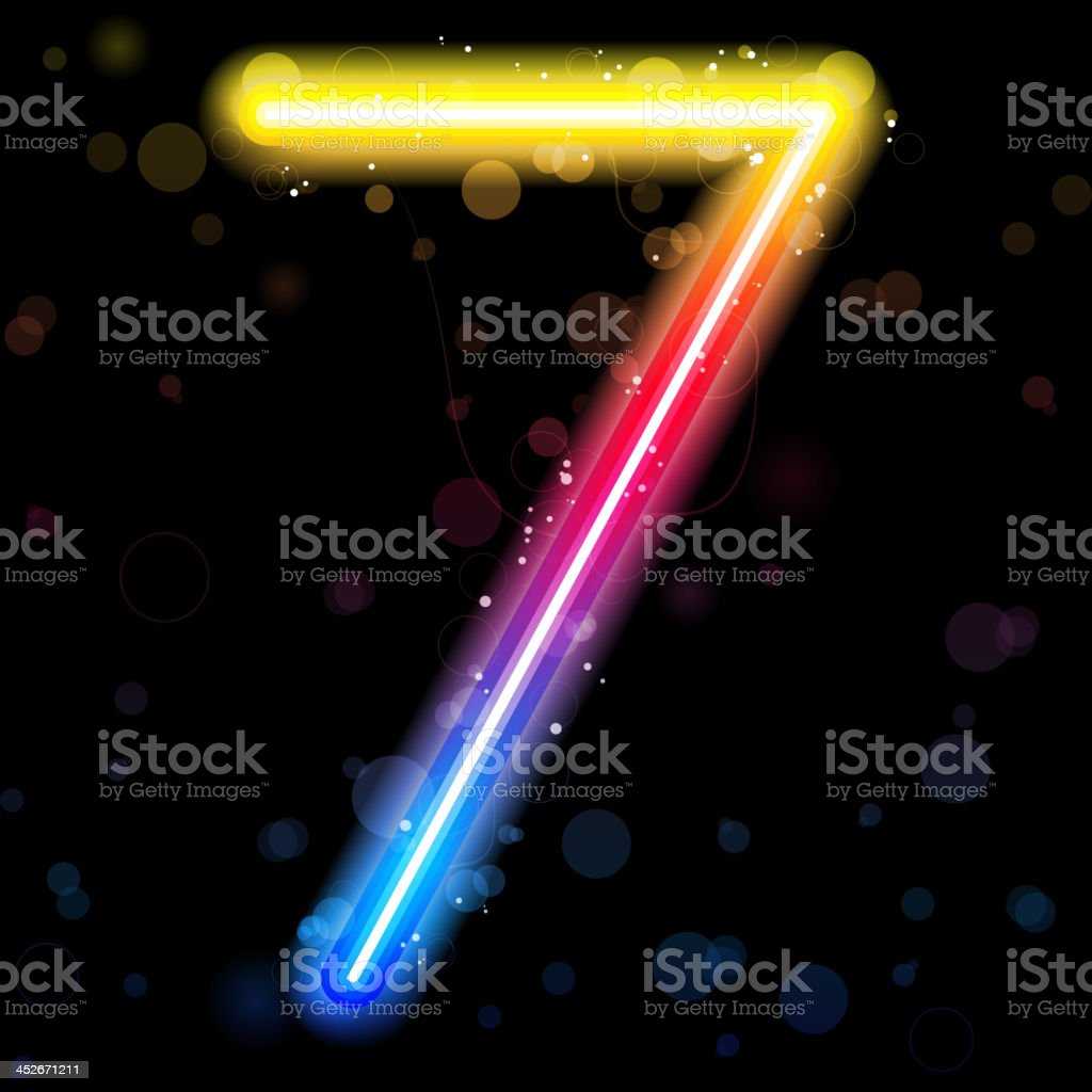 Number Rainbow Lights  Glitter with Sparkles vector art illustration