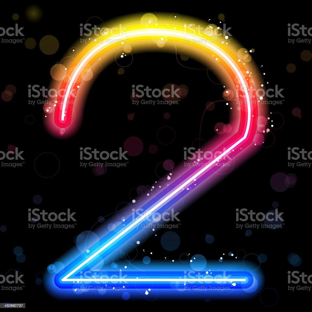 Number Rainbow Lights  Glitter with Sparkles vector art illustration