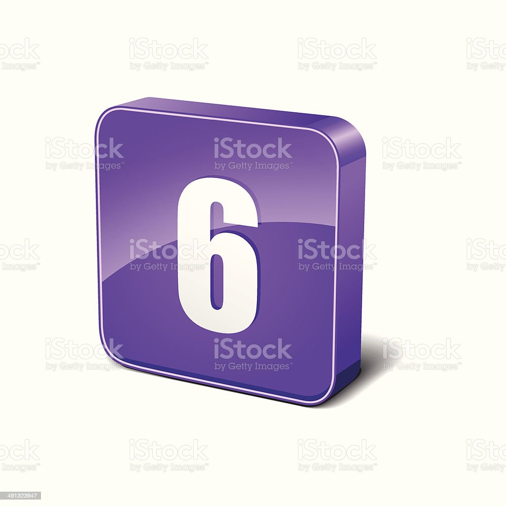 6 Number Rounded Corner Purple Vector Icon Button royalty-free stock vector art