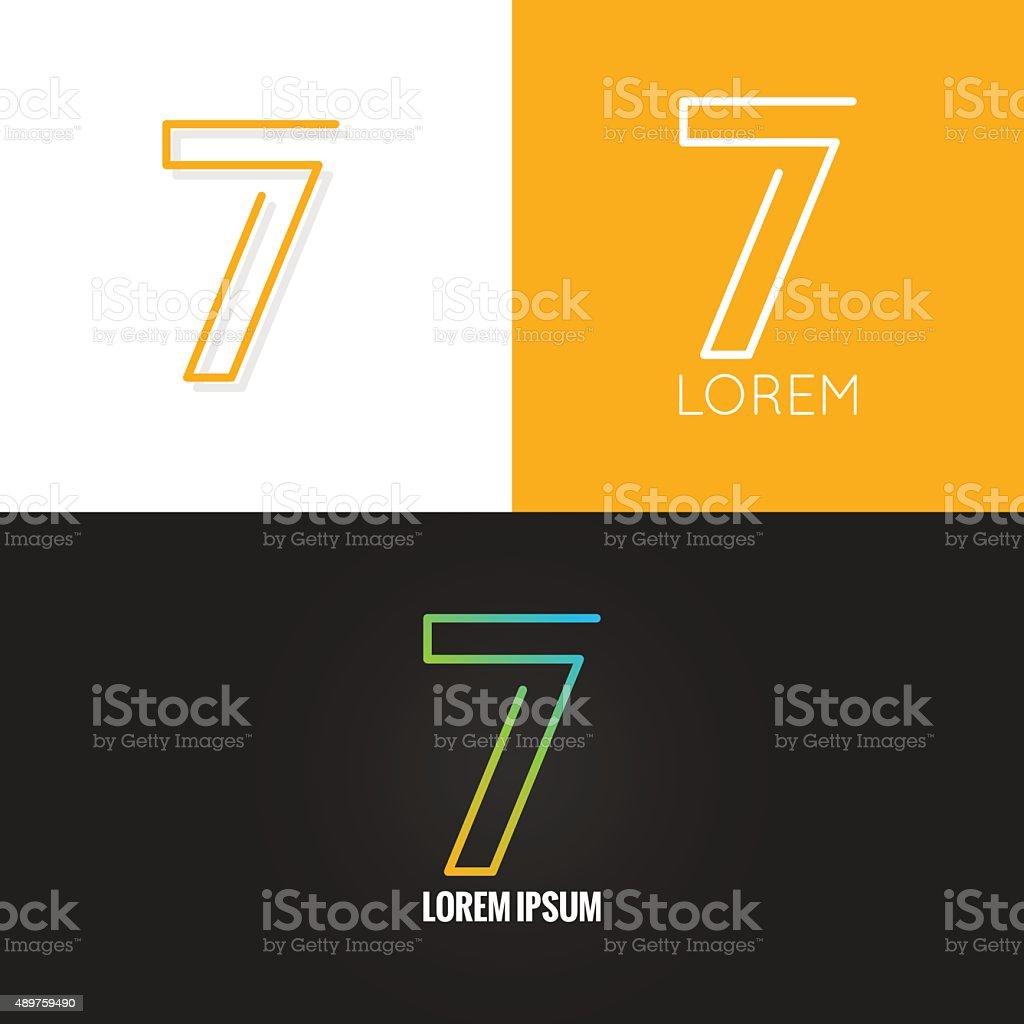 Number seven 7 logo design icon set background vector art illustration