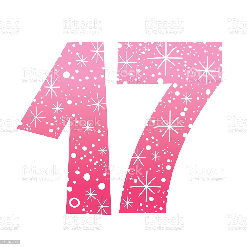 number seventeen vector art illustration