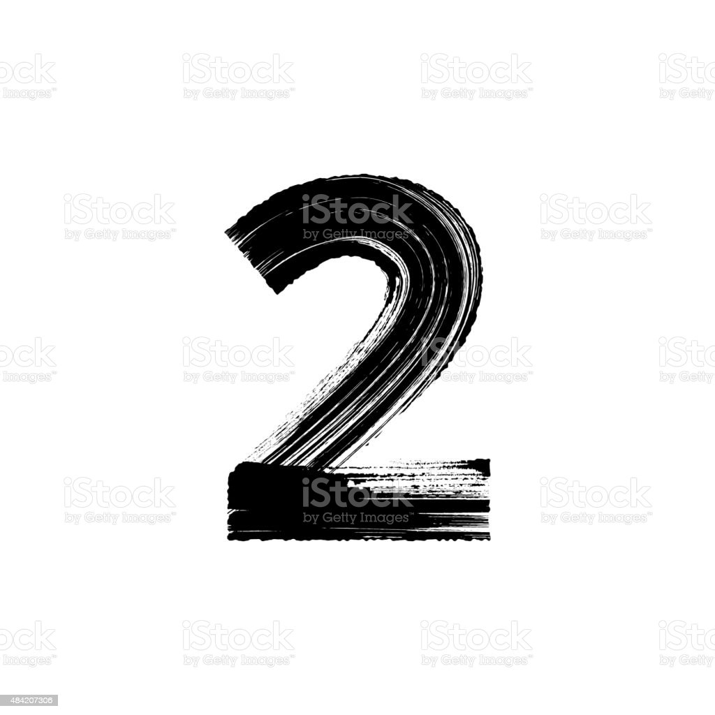 Number Two 2 hand drawn with dry brush vector art illustration