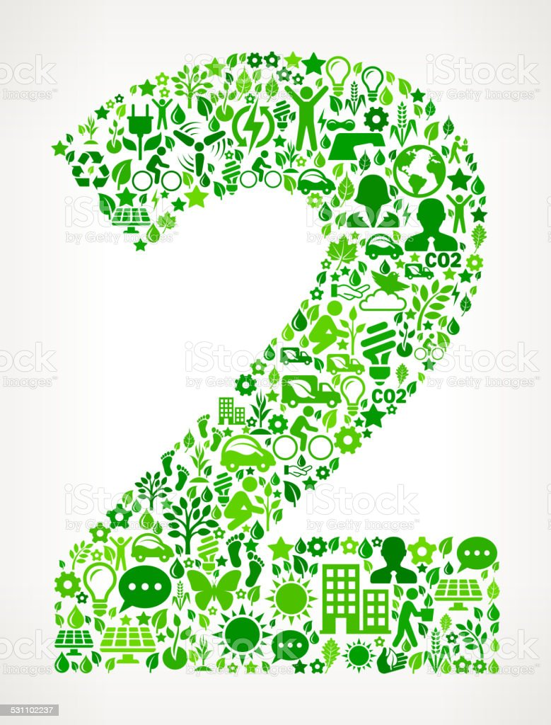 Number Two Environmental Conservation and Nature interface icon Pattern vector art illustration