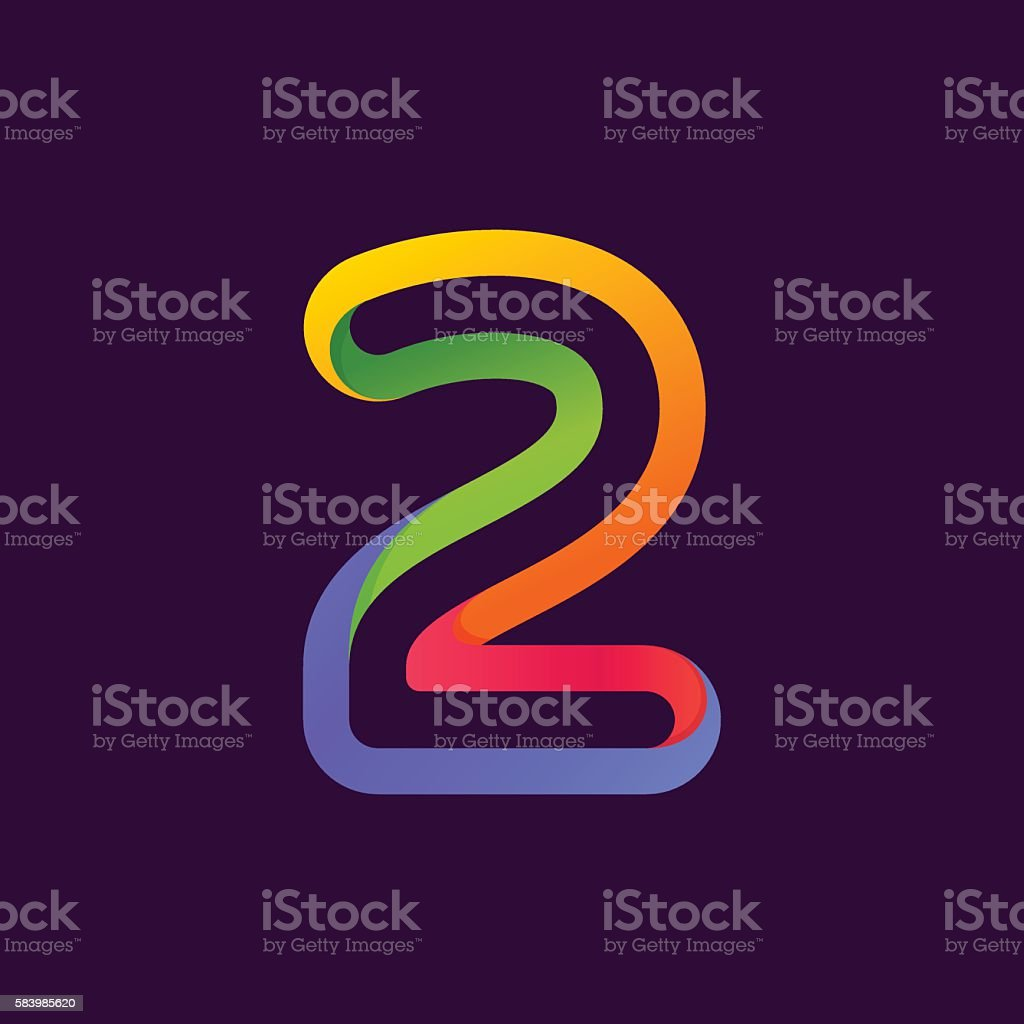 Number two icon formed by colorful neon line. vector art illustration