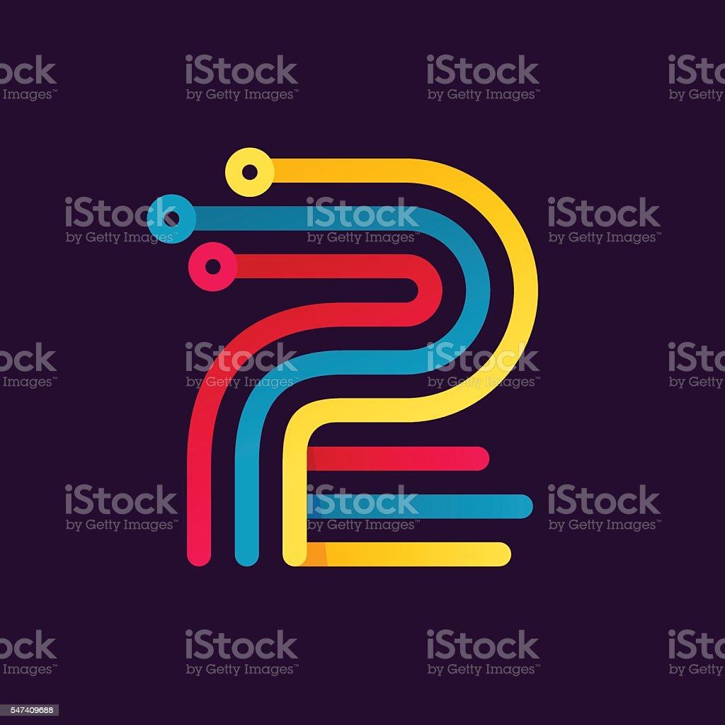 Number two icon formed by electric line. vector art illustration