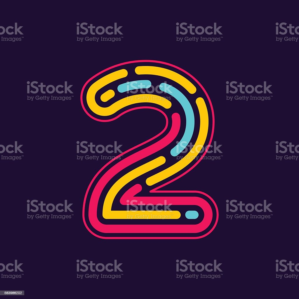 Number two icon formed by neon line or fingerprint. vector art illustration