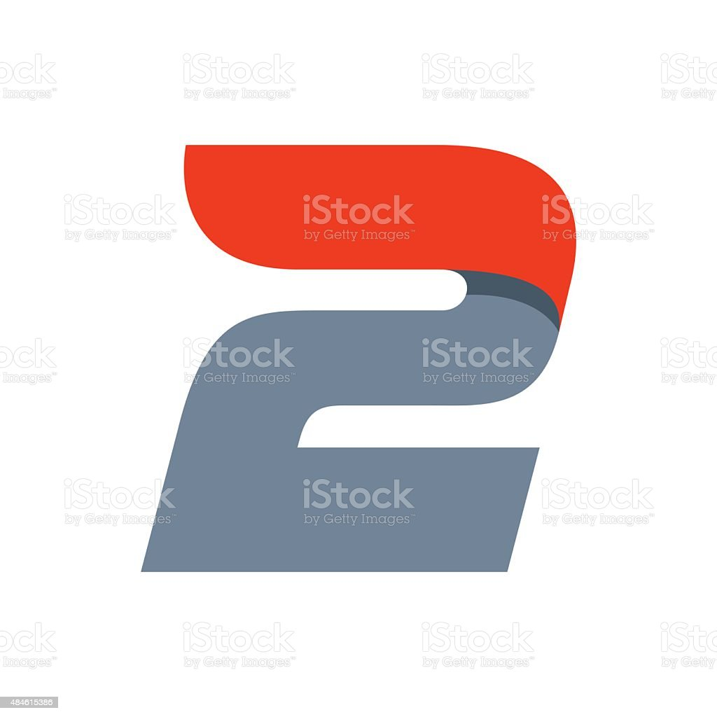 Number two icon vector art illustration