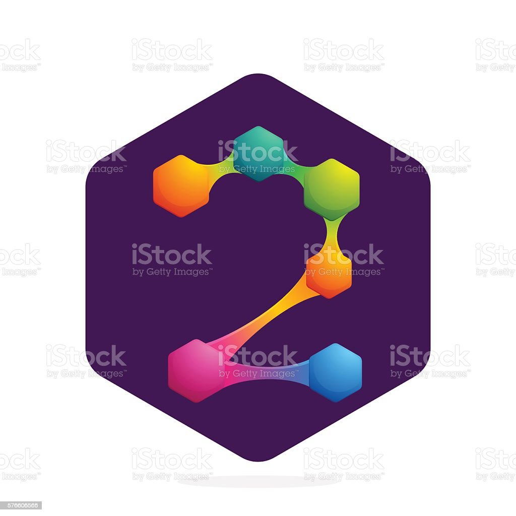 Number two icon with Hexagon and lines. vector art illustration