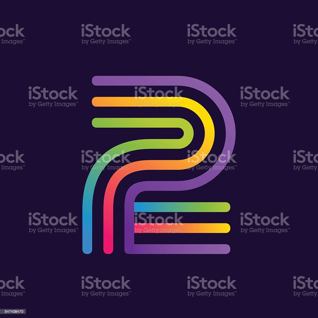 Number two icon with neon lines. vector art illustration