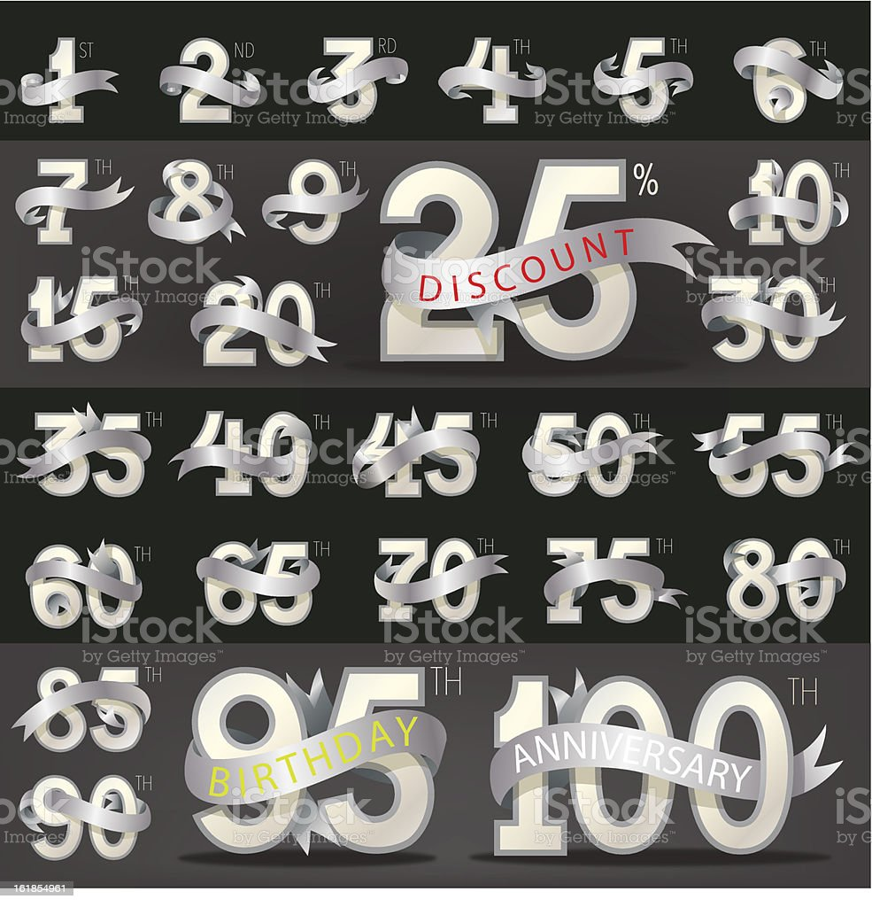 Number with stylish ribbon (eps10) vector art illustration