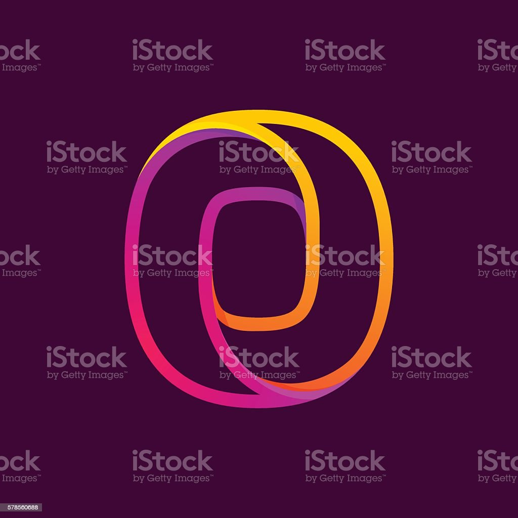 Number zero icon formed by colorful neon line. vector art illustration