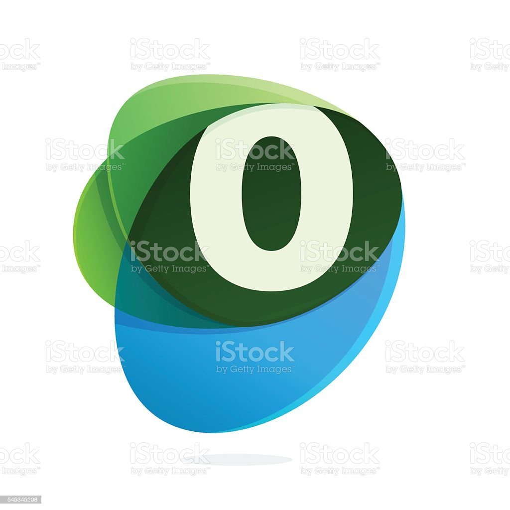 Number zero icon in green leaves and blue drops. vector art illustration