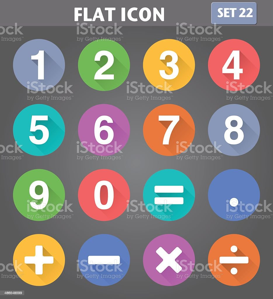 Numbers and Mathematical Icons set in flat style vector art illustration