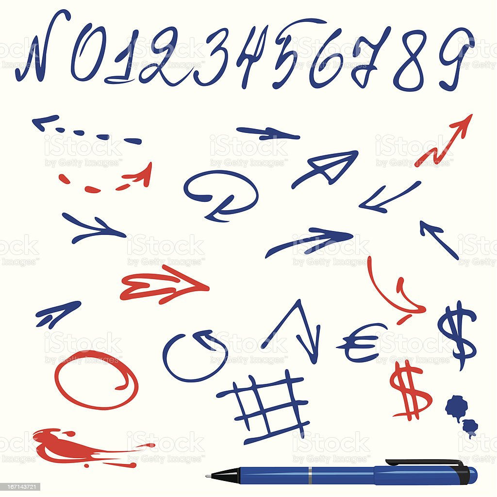 Numbers and symbols (arrows) set royalty-free stock vector art