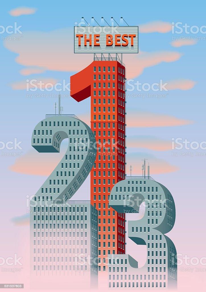 numbers buildings vector art illustration