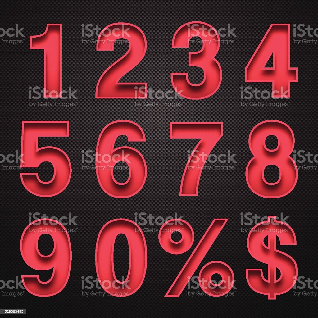 Numbers Design - Red Numbers on Carbon Fiber Background vector art illustration