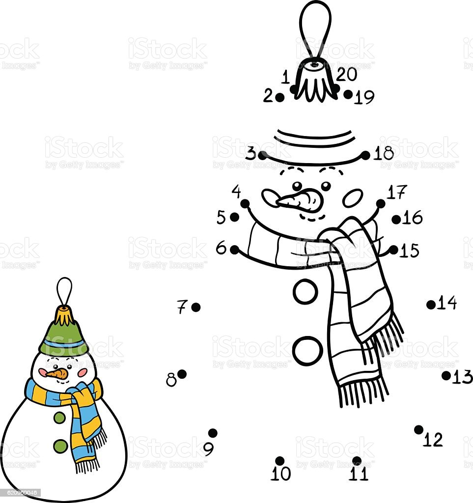 Numbers game for children. Christmas toys, snowman vector art illustration