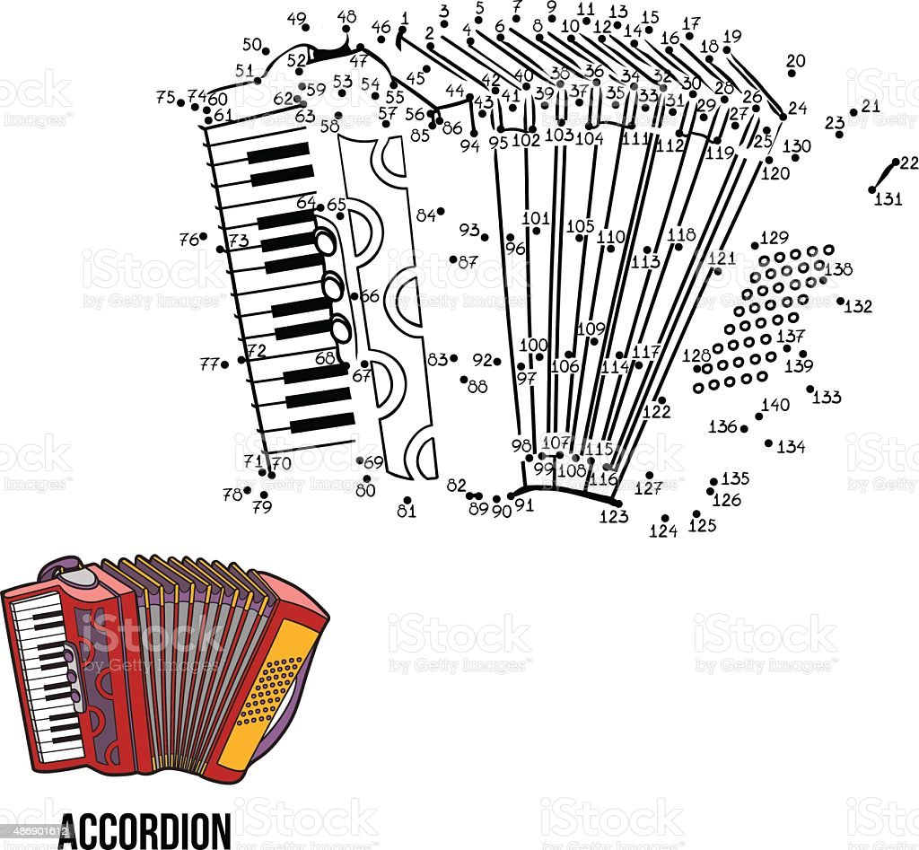 Numbers game for children: musical instruments (accordion) vector art illustration