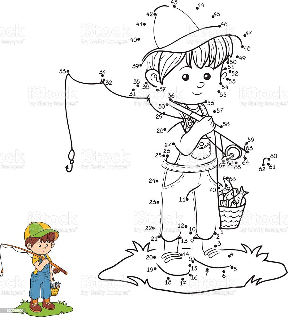 Numbers game (little boy fisher) vector art illustration