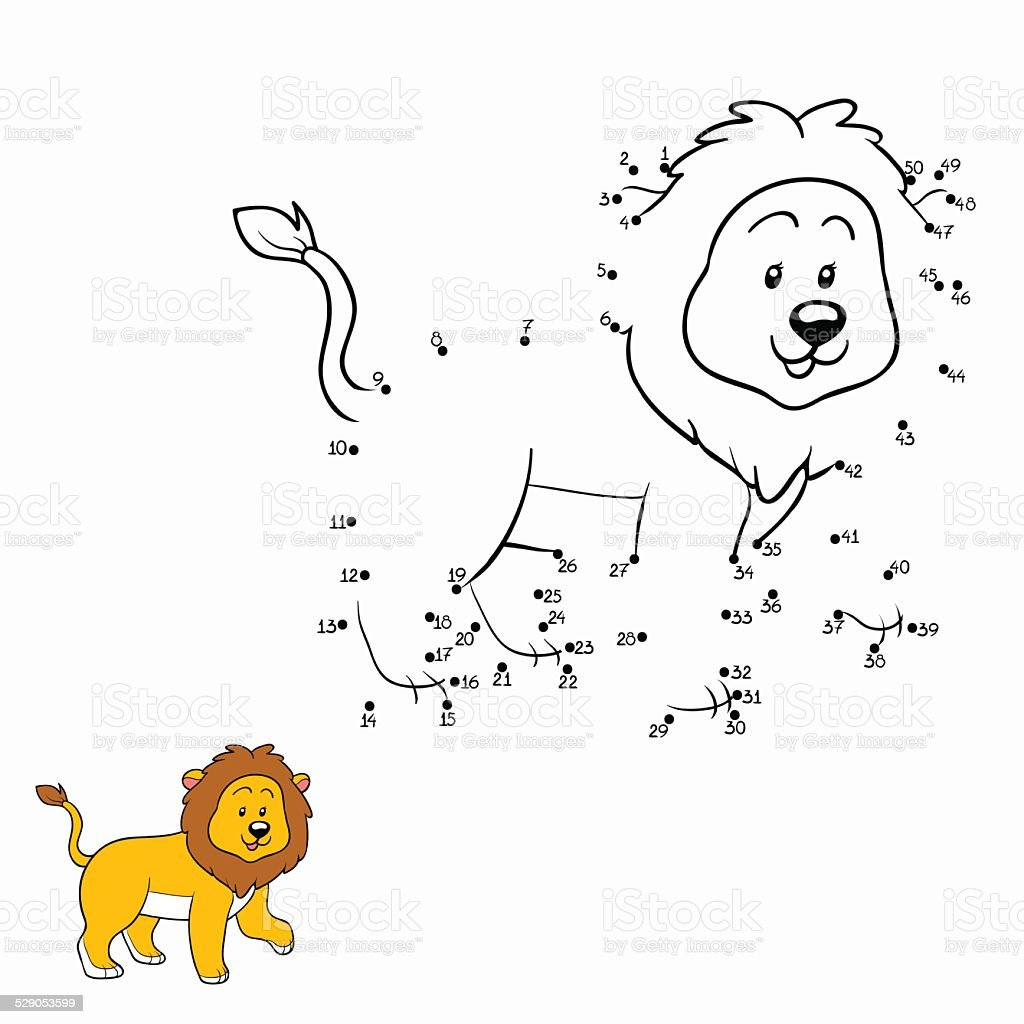 Numbers game (lion) vector art illustration