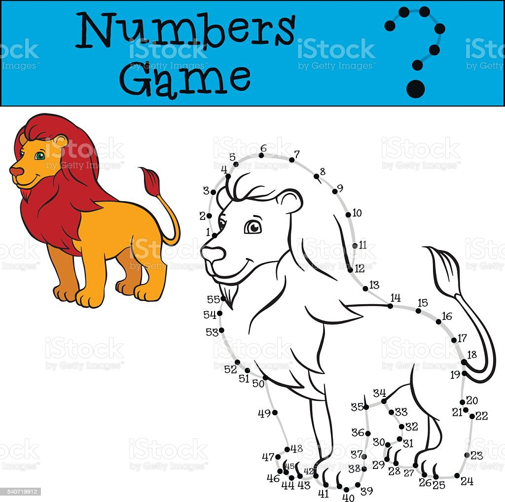 Numbers game with contour. Cute beautiful lion king. vector art illustration