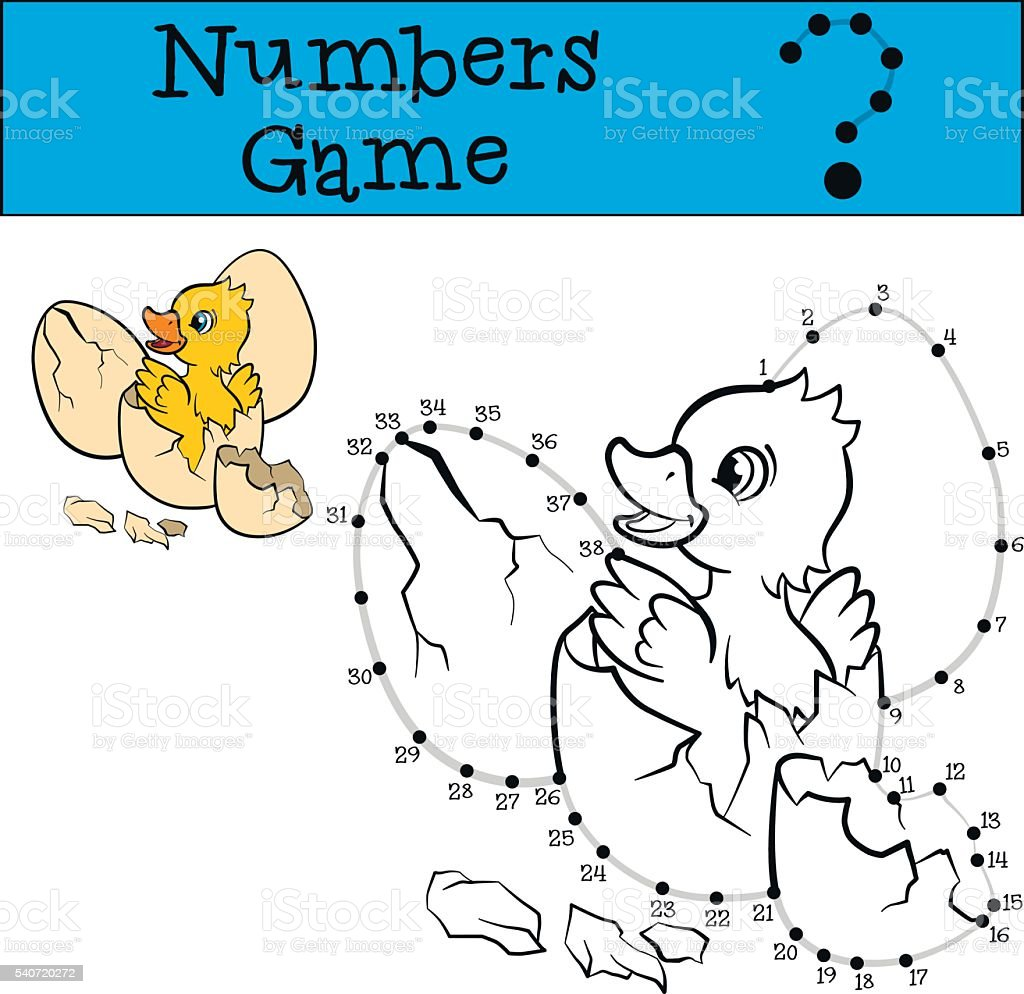 Numbers game withy contour. Little cute duckling. vector art illustration