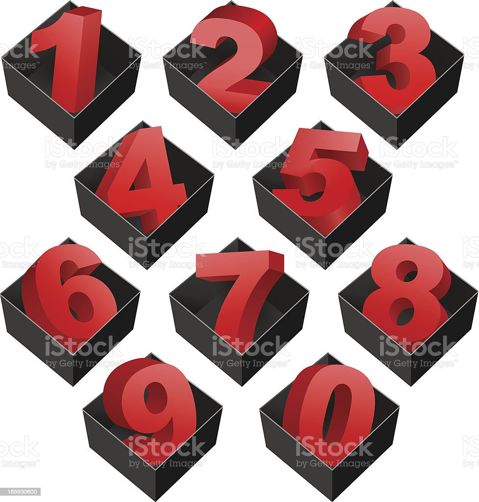 Numbers in boxes vector art illustration
