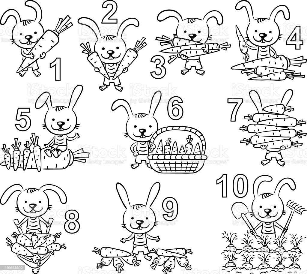Numbers in cartoon pictures set,black and white vector art illustration