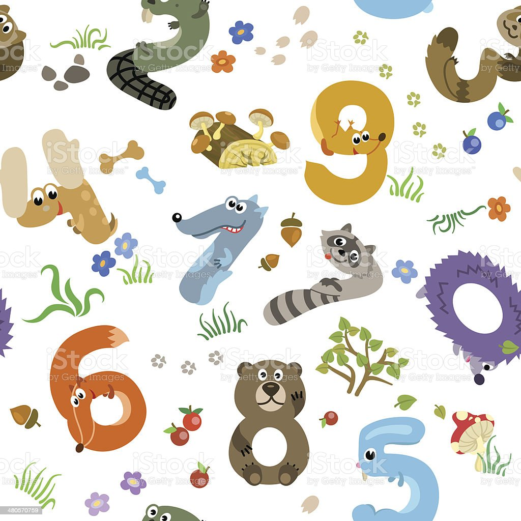 Numbers like European Forest Animals seamless pattern royalty-free stock vector art