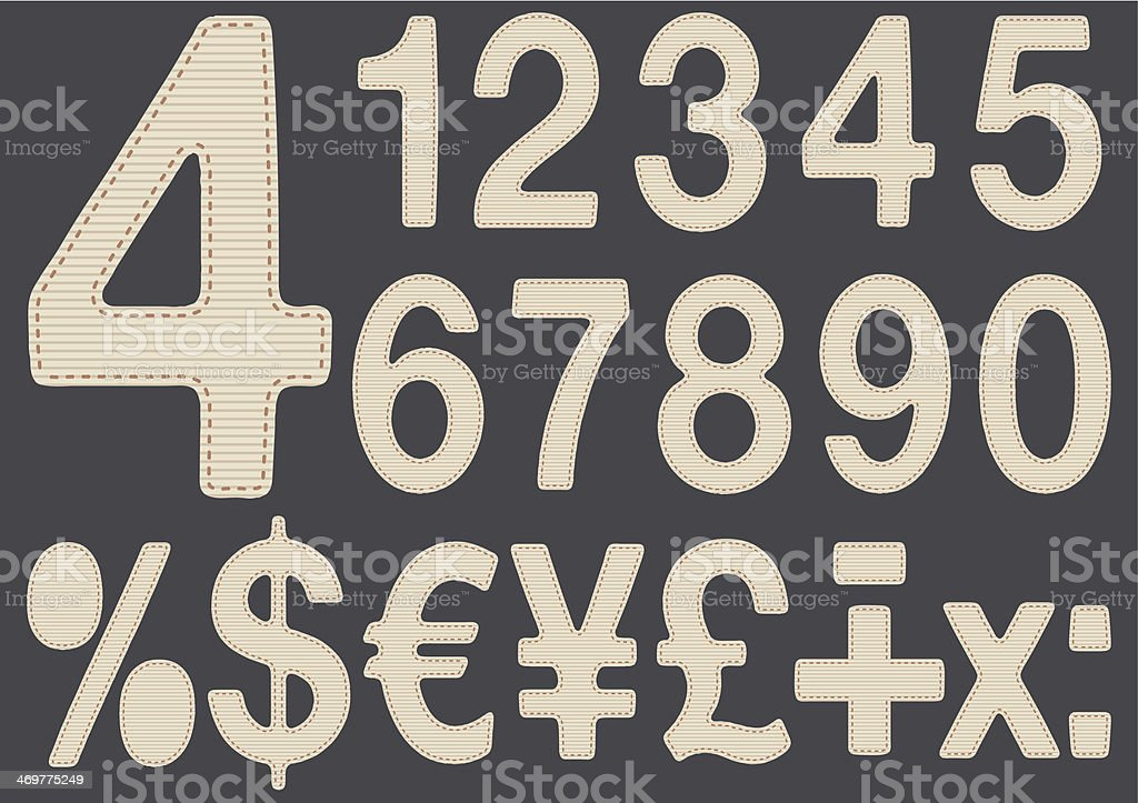 Numbers made with fabric royalty-free stock vector art