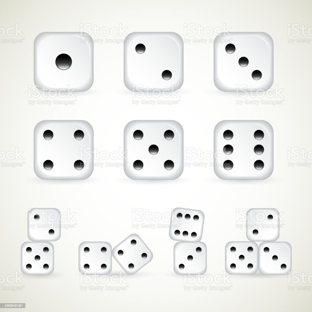 Numbers of dice vector art illustration