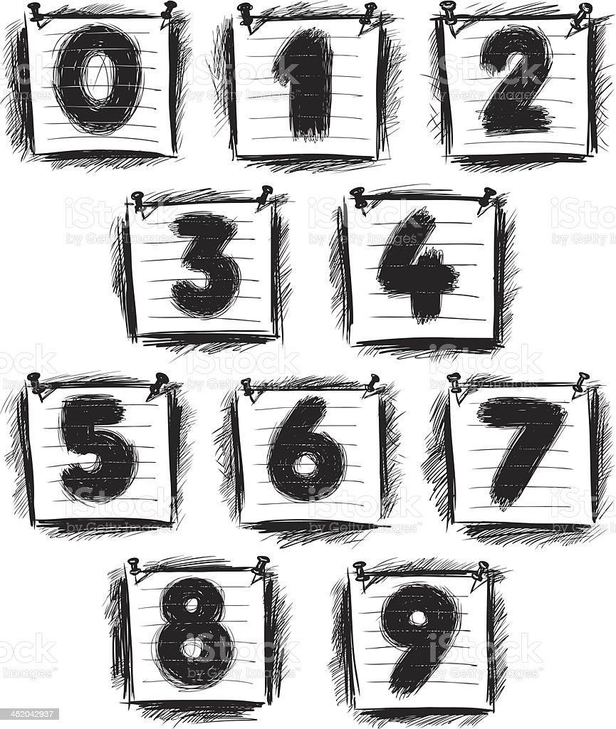 numbers on a note paper royalty-free stock vector art