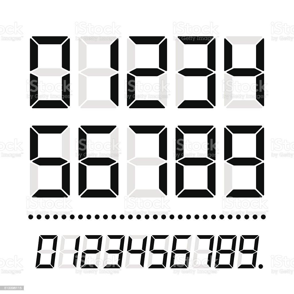 LED Numbers On White vector art illustration