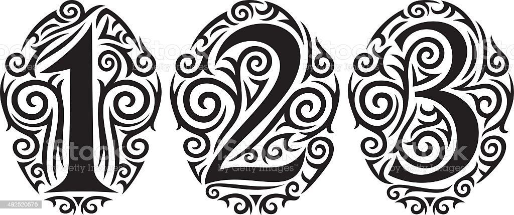 Numbers one two and three tattoo tribal design stock for Number 3 tattoo